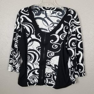 ShanaK Black/White Zip Front 3/4 Sleeve Top XL